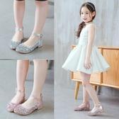 單鞋 女童皮鞋高跟公主鞋春秋季新款韓版女童鞋小女孩水晶兒童單鞋 玫瑰女孩