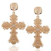 鍍18K金耳環-歐美時尚十字架華麗女耳飾73ns32【時尚巴黎】