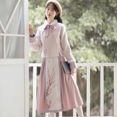 古裝黛煙原創秋冬季漢服女套裝改良日常古裝銀狐絨保暖加厚外套女套裝 春季新品