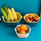 瀝水盆 家用雙層塑料瀝水籃洗菜盆廚房洗水果籃淘菜淘米筐餐具漏水收納籃 晶彩 99免運