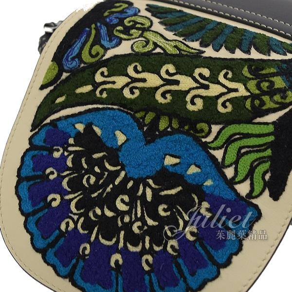 茱麗葉精品 【全新現貨 】 LOEWE Gate Floral Mini 綁結拼色斜背馬鞍包.藍