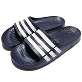 adidas 拖鞋 Duramo Slide 深藍 白 三條線 海灘拖 一片拖 運動拖鞋 男鞋 女鞋【ACS】 G15892