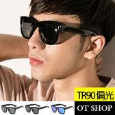 OT SHOP太陽眼鏡‧抗UV方框TR90金屬裝飾偏光墨鏡‧亮黑/霧面全灰/亮黑冰藍反光‧現貨M09