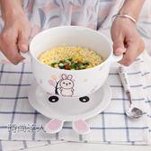 家用陶瓷泡麵碗套裝卡通可愛湯碗麵碗水果盤日式兒童餐具飯碗飯盤熱賣夯款