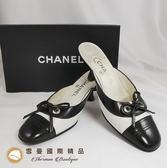 【雪曼國際精品】Chanel~經典黑白皮革涼鞋(9新)-二手商品