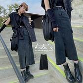 LULUS【A05210011】Y側口袋開叉長裙S-L黑