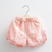 現貨  2-14歲 女童 寶寶鏤空花邊短褲 2019夏裝新款韓版女童童裝 兒童褲子潮