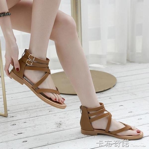 交叉帶涼鞋女夏季新款波西米亞復古夾腳包跟度假平跟羅馬鞋 卡布奇諾