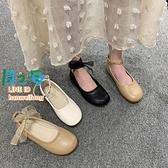 樂福鞋 豆豆鞋女韓版百搭平底學生一字扣單鞋女鞋軟底奶奶鞋【風之海】