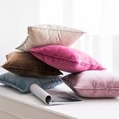 枕頭套 北歐天鵝絨鎖邊抱枕沙發靠墊客廳簡約純色系樣板房抱枕套家用靠墊