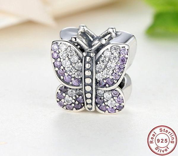 【免運】s925純銀 紫色蝴蝶鋯石串飾 墜飾 吊飾 單品 項鍊吊墜 手鍊吊墜 DIY 基本款