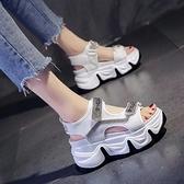 白色涼鞋女仙女風2021年夏季新款厚底增高ins潮魔術貼休閒羅馬鞋【快速出貨】