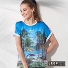 【JEEP】女裝 海洋度假風滿版印花短袖TEE (天空藍)