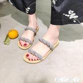 沙灘鞋 18韓范波西米亞 一字平底羅馬波浪交叉綁帶涼拖鞋 沙灘鞋【全館9折】