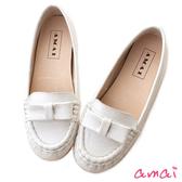 amai全真皮純色蝴蝶結內增高莫卡辛便鞋 白