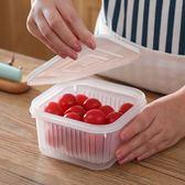 [拉拉百貨]方形蔥花雙層保鮮盒  瀝水籃 瀝水盒 蔥花盒  透明 佐料 露營 烤肉