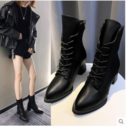 網紅ins馬丁靴女2021新款秋鞋英倫風百搭女鞋子粗跟系帶高跟短靴 3C數位百貨
