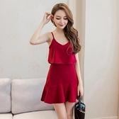 現貨酒紅S洋裝禮服吊帶裙27833