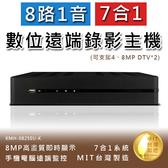 8路1音七合一8MP高畫質數位錄影主機手機監看支援DTV不含硬碟(KMH-0825EU-K)