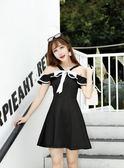 一字領洋裝 韓版新款時尚掛脖一字領蝴蝶結露肩吊帶裙修身收腰洋裝 享購