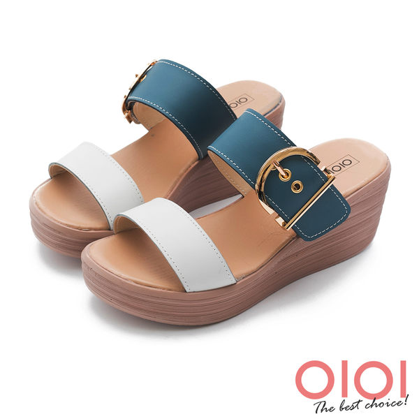 涼拖鞋 玩美涼夏雙帶真皮楔型涼拖鞋(藍)*0101shoes【18-759b】【現貨】