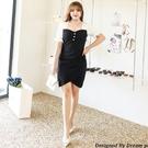 大尺碼洋裝 L-5XL 雪紡V領收腰包臀顯瘦連衣裙 #wm1215 @卡樂@