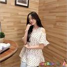 孕婦裝孕婦褲-韓國時尚 韓版波點露肩連衣裙-JoyBaby