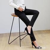 女褲2019新款秋季修身韓版黑色長褲西裝休閒西褲高腰彈力緊身褲子『艾麗花園』