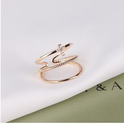 新款開口鍍白金微鑲滿鉆三層指環飾品LVV1281【KIKIKOKO】