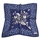 NINA RICCI典雅花卉圖騰絹絲綿領帕巾(深藍色)989028-E