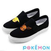 Pokémon 寶可夢不對稱電繡休閒懶人鞋-黑色