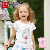 JJLKIDS 女童 皇冠公主亮片點綴純棉短袖上衣 T恤(2色)