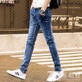 2018春季新款青少年學生男生牛仔褲男牛子褲男款韓版潮流小腳褲