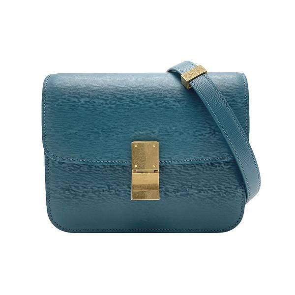 【台中米蘭站】全新品 CELINE TEEN CLASSIC BOX 牛皮金釦肩背/斜背包(普魯士藍綠)