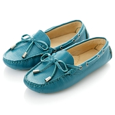 G.Ms. 童鞋-全真皮蝴蝶結休閒鞋-藏青藍