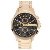A/X Armani Exchange 三眼計時奢華金鋼帶男腕錶46mm(AX2137)271015