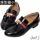 Ann'S雙色織帶流蘇墜紳士鞋-黑