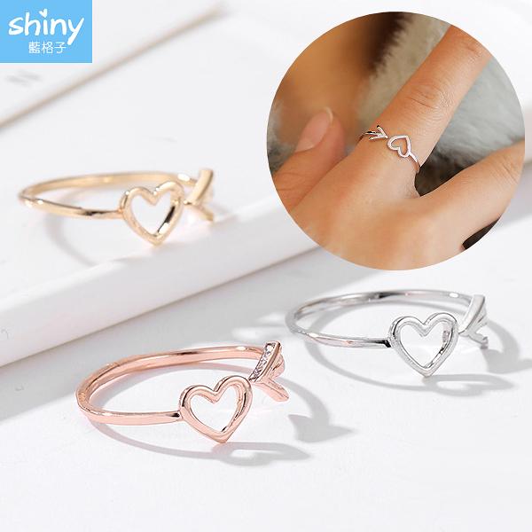 【30A12】shiny藍格子-獨特美感.創意時尚箭頭愛心開口戒指