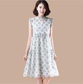 中大尺碼洋裝 M-2XL 韓版雪紡印花兩件套連衣裙 白色 #ob61992 @卡樂@