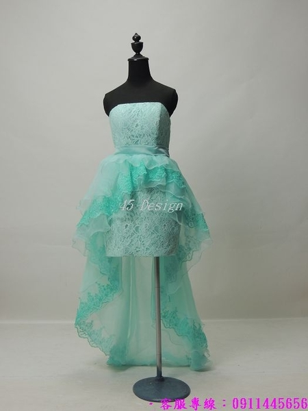 (45 Design)  專業訂製款 大尺碼  小禮服 演奏會婚紗禮服 表演 走秀 主持訂婚 前短後長