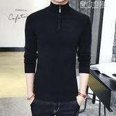 男士韓版修身高領純色毛衣兩翻領打底衫緊身針織衫線衣潮男裝 青山市集