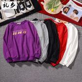 印花衛衣大學Tee男女情侶裝潮流嘻哈長袖T恤