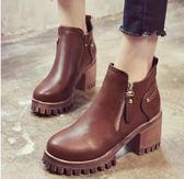 馬丁靴     短靴女粗高跟英倫風百搭馬丁靴子短筒加絨    瑪麗蘇