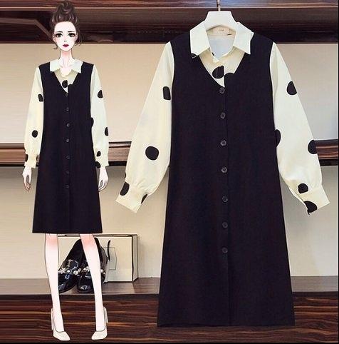 套裝裙兩件套襯衫背心裙L-4XL中大尺碼秋冬减齡顯瘦波點長袖襯衫針織連衣裙4F097B.6043依品國際