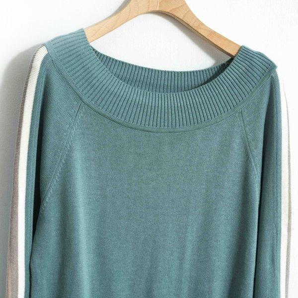 秋冬單一價[H2O]可露肩兩穿袖中心配彩色條休閒風針織線衫 - 綠/深藍/白色 #8650005