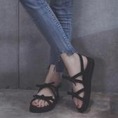 涼鞋女年新款百搭學生仙女風羅馬平底鞋一字帶搭裙子穿ins潮 極有家