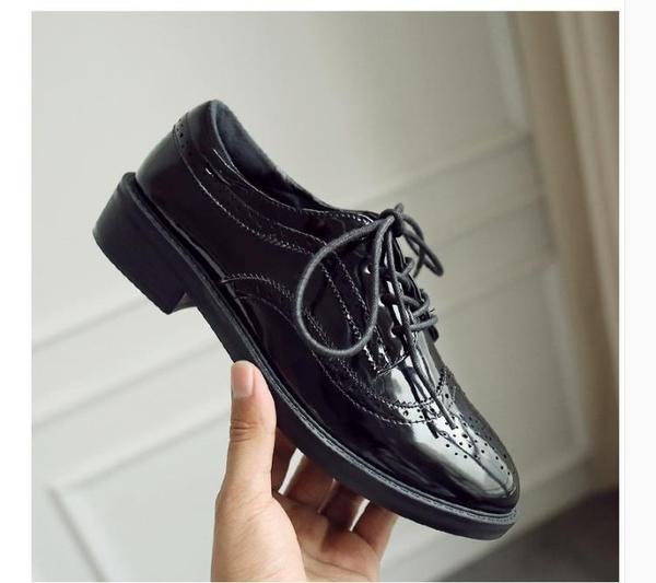 原宿小皮鞋女秋布洛克單鞋