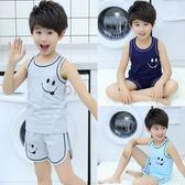 兒童睡衣男童家居服夏季短袖純棉中大童薄款空調服小孩子背心套裝