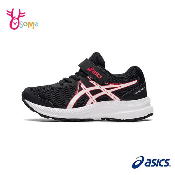 ASICS童鞋 男童慢跑鞋 CONTEND 7 PS 跑步鞋 透氣網布 魔鬼氈運動鞋 亞瑟士 C9192#黑紅◆奧森