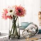 描金北歐T型簡約玻璃花瓶 客廳家居裝飾插花花器擺件【小獅子】